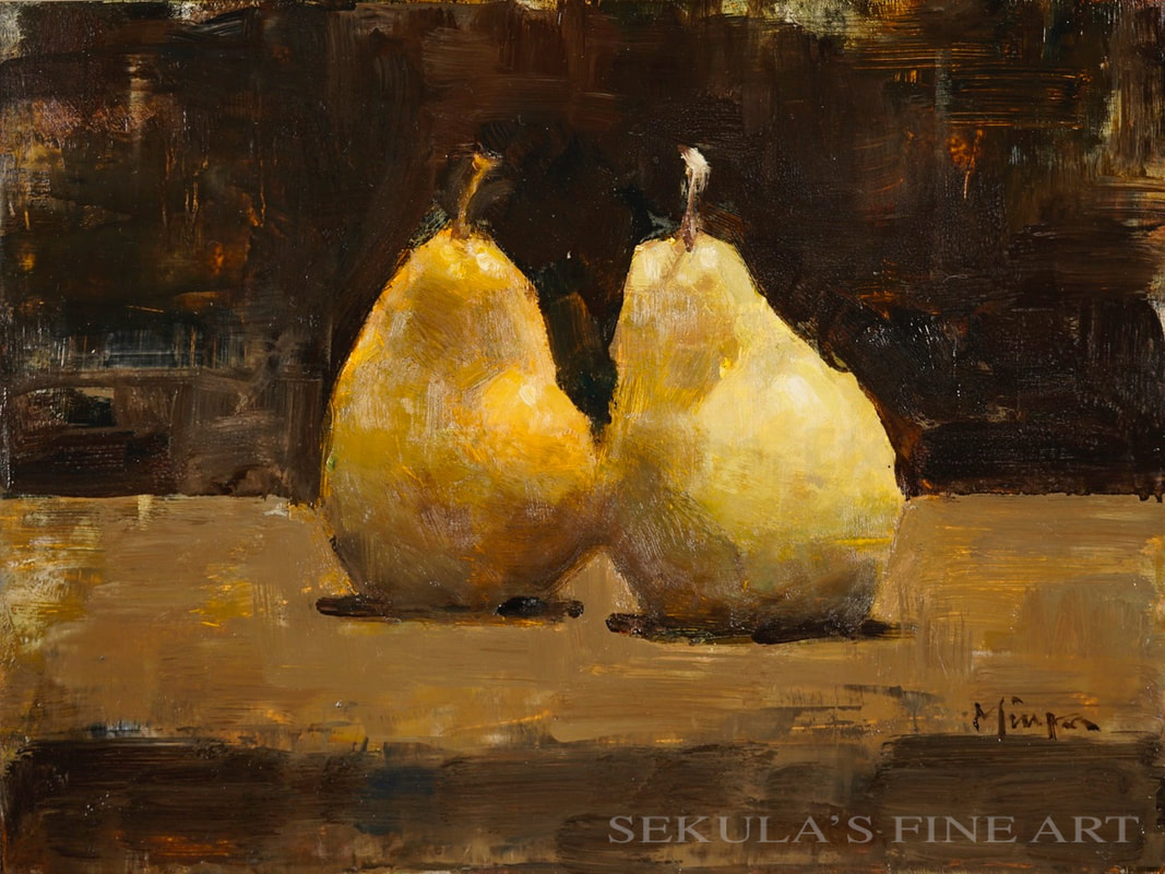 A Pair of Pale Pears, 9 x 12, oil on panel by Terry Miura