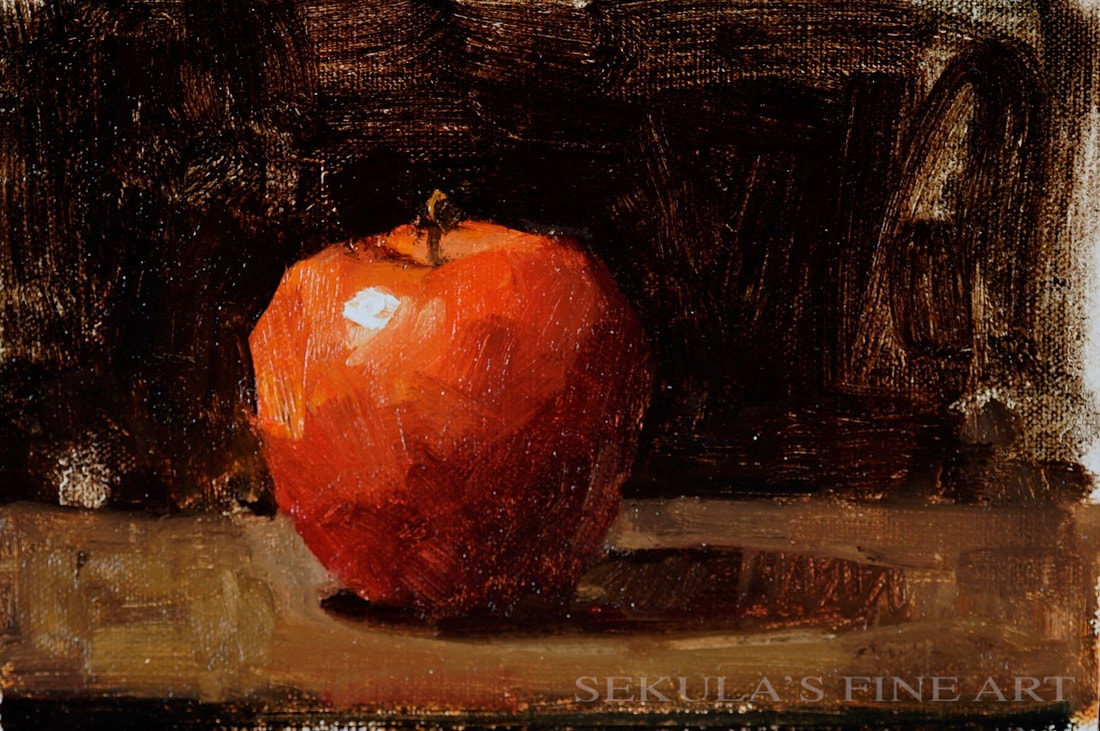 Apple 2 6 x 9 oil on panel by Terry Miura