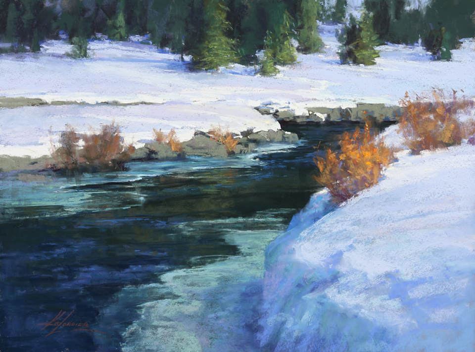 Winter's Confluence, 18x24, pastel by Kim Lordier at Sekula's