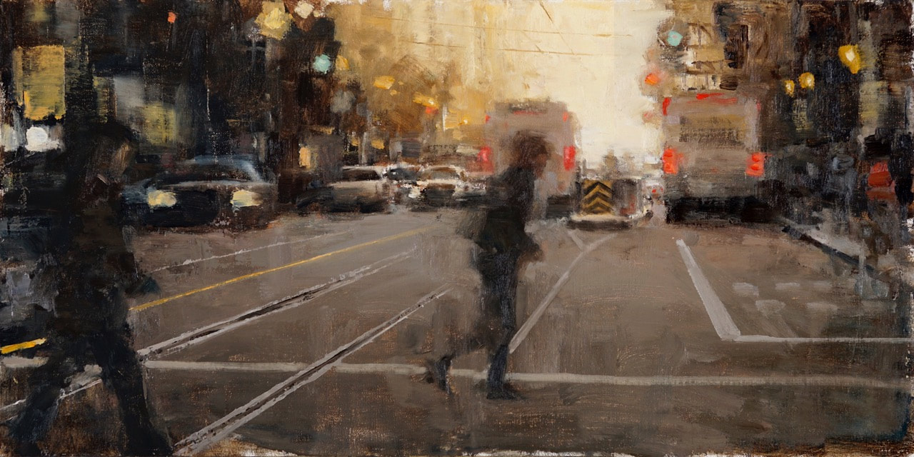 Hurry on Home, 12 x 24, oil on linen by Terry Miura
