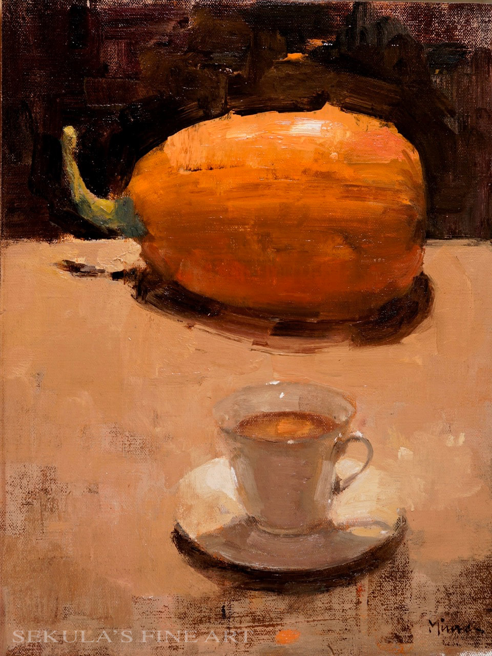 ​Pumpkin Spice Tea, 16 x 12, oil on linen by Terry Miura