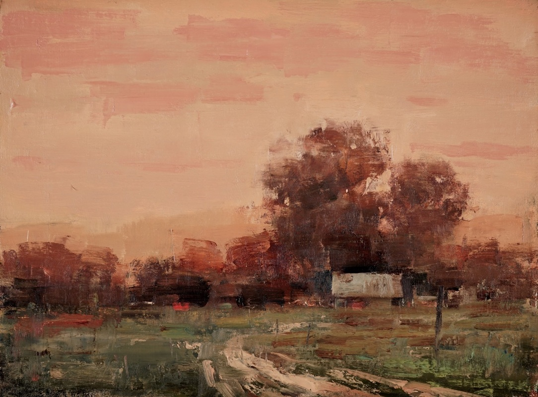 Sekula's Terry Miura Evening on the Farm 12 x 16, oil on linen