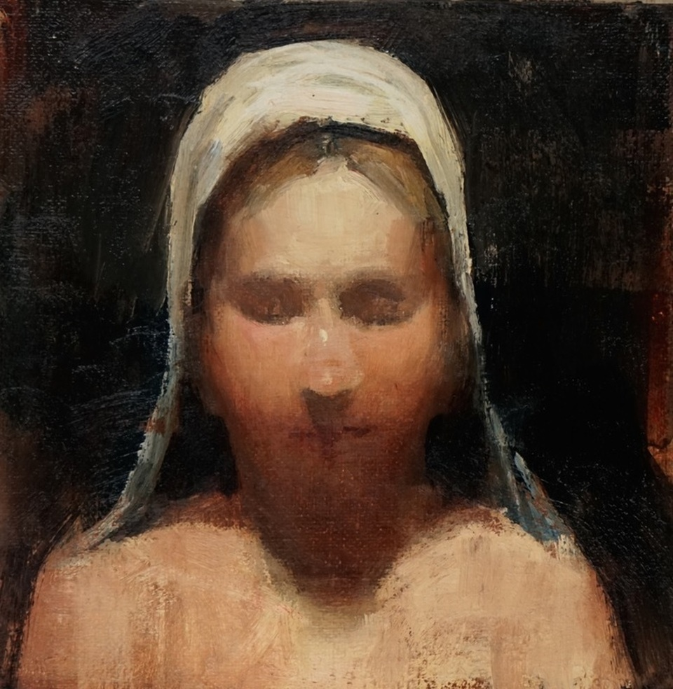 Private Thoughts, 6 x 6, oil on linen Sekula's Antiques