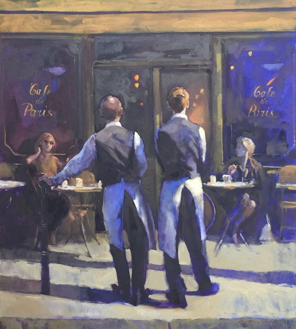 Waiting Paris Café by Keith Wicks