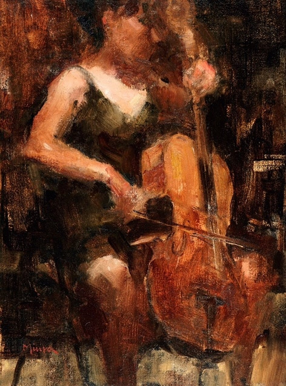 The Cellist, 16 x 12, oil on linen