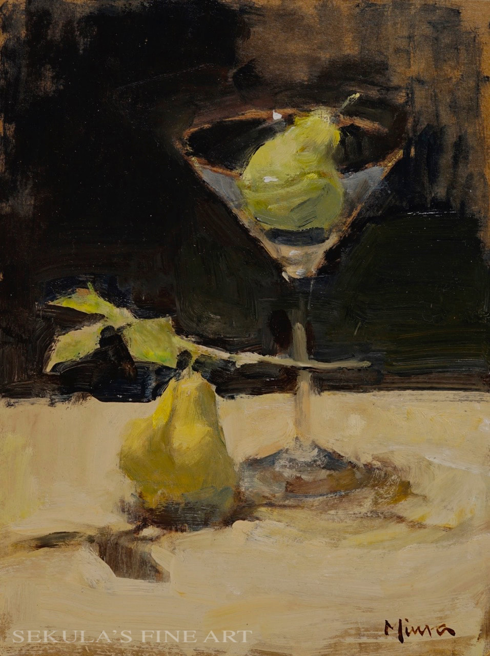 ​Pear Martini, 12 x 9, oil on panel by Terry Miura