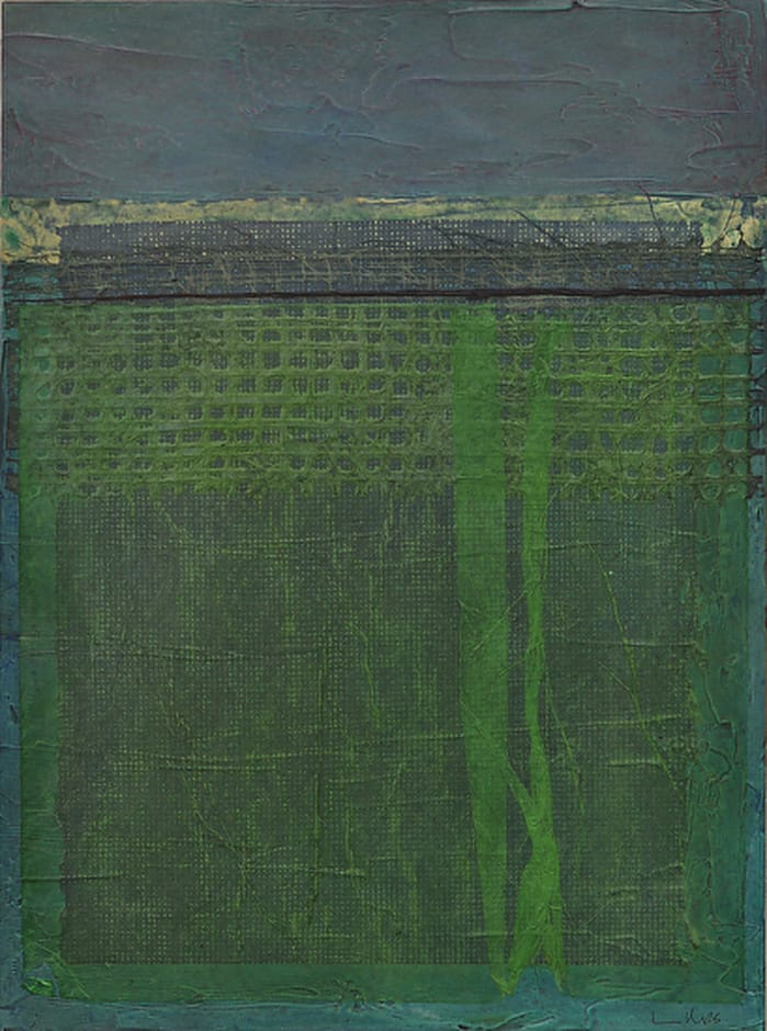 Untitled 113013, 30x 22x1.75, mixed media on panel, by Nancy Crandall Phillips
