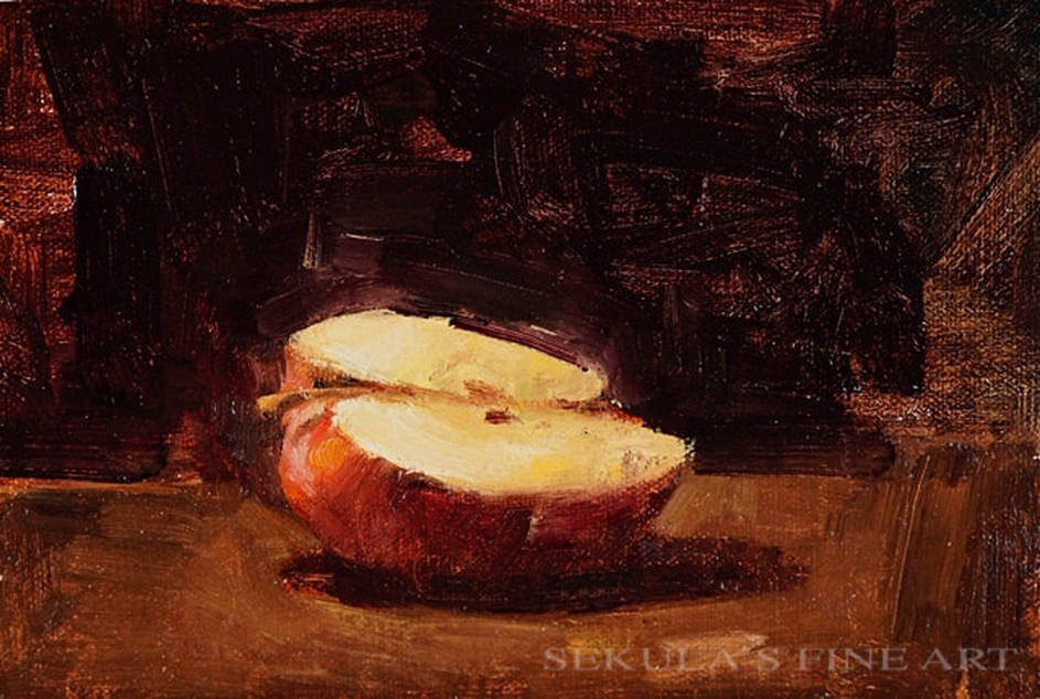 Apple 6, 6 x 9, oil on panel by Terry Miura