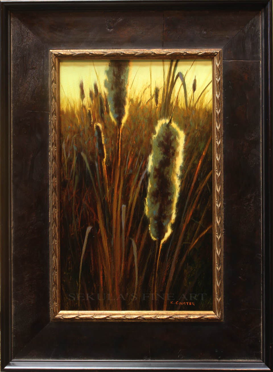 Cattails in the Morning Light Oil Painting by Kevin Courter at Sekulas